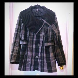 Lane Bryant 18 20 grey plaid asymmetrical coat